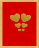 Gold valentine hearts. Multiple valentine hearts on passion red background, gold textured frame, Love is All You Need Stock Photo