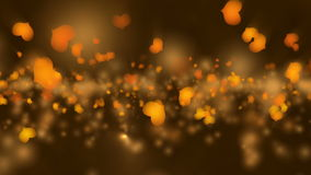 Gold Valentine`s Day Animation. Valentine`s day animation, flying hearts and particles. Seamless loop background stock video footage