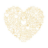 Gold Valentine`s Day Line Icons Set Heart Shape Stock Image