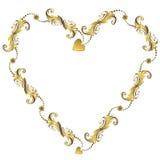 Gold valentine`s floral frame (vector) Stock Image