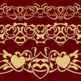 Gold valentine seamless border Royalty Free Stock Photography