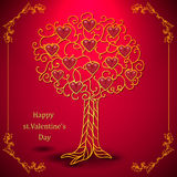 Gold valentines day tree forged with hearts Royalty Free Stock Photo