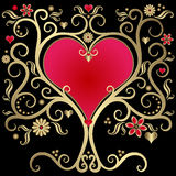 Gold valentines frame Royalty Free Stock Image