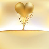 Gold valentines tree card. + EPS8. File Vector Illustration