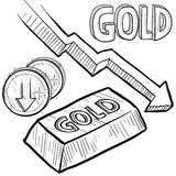 Gold value decreasing sketch Stock Photo