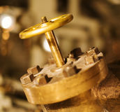 Gold valve. Stock Photo