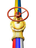 Gold valve. Connects the Russian and Ukrainian pipeline Royalty Free Stock Photos