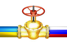 Gold valve. Connects the Russian and Ukrainian pipeline Stock Image