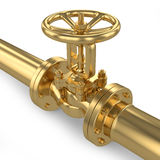 Gold valve of pipeline Stock Photos