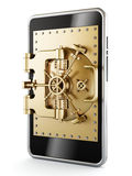 Gold vaulted safety door on smartphone screen Royalty Free Stock Image