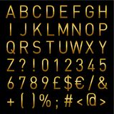 Gold Vector Alphabet Light Letters And Numbers instant Download royalty free illustration