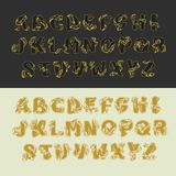Gold vector alphabet set of uppercase letters. Decorative vintage sketch elegant letter ABC. Font of interlocking. Ribbons drawn by hand and decorated with a stock illustration