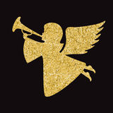 Gold vector angel silhouette on black background Stock Photos