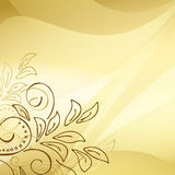 Gold vector background with floral elements in the corner Royalty Free Stock Photography