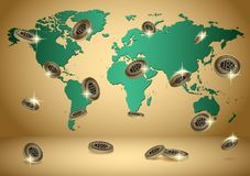 Gold vector background with world map and bitcoins Royalty Free Stock Photo