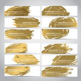 Gold vector banners. Banners. Set of trendy gold vector banners template or website headers with watercolor imitation background. Advertising banners with gold Royalty Free Stock Images
