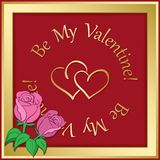Gold vector frame on red background with hearts and roses - vale. Gold vector frame on red background with hearts and roses -  valentine day Stock Images