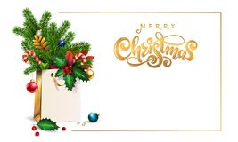 Gold Vector hand drawn lettering text Merry Christmas. 3d Shopping bag, bouquet spruce, fir branches, xmas toys, colorful balls,. Holly berries, leaves, sweets stock images