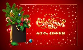 Gold Vector hand drawn lettering text Merry Christmas. 3d Shopping bag, spruce fir branche, xmas Sales offer advertising. Gold Vector hand drawn lettering text royalty free illustration