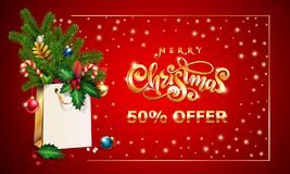 Gold Vector hand drawn lettering text Merry Christmas. 3d Shopping bag, spruce fir branche, xmas Sales offer advertising. Gold Vector hand drawn lettering text stock illustration