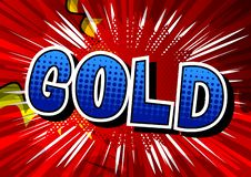 Gold - Comic book style word. stock illustration