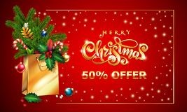 Gold Vector lettering text Merry Christmas 3d Shopping bag fir branches, xmas red card. Christmas Sale offer advertising. Gold Vector hand drawn lettering text royalty free illustration