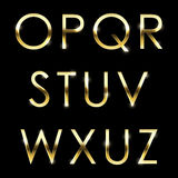 Gold vector metal alphabet set O to Z uppercase. Stock Images