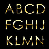 Gold vector metal alphabet set A to N uppercase. Stock Image