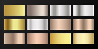 Free Gold Vector Metallic Gradients. Badges Set. Royalty Free Stock Images - 163343309