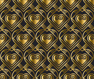 Gold vector pattern with heart in art deco style. Stock Images