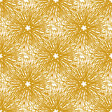 Gold vector seamless pattern with bright firework flowers. Seamless texture for web, print, wallpaper, wrapping, home decor. Fashion print, invitation royalty free illustration
