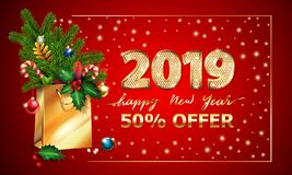 Gold Vector text Happy New Year, 3d golden digits 2019, advertising xmas offer. Shopping bag fir branches Christmas sale. Gold Vector text Happy New Year, 3d royalty free stock image