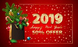 Gold Vector text Happy New Year, 3d golden digits 2019, advertising sale offer. 3d xmas Shopping bag, spruce fir branche. Gold Vector text Happy New Year, 3d stock illustration
