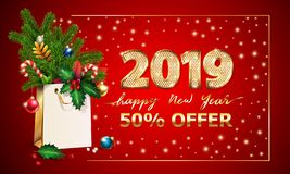 Gold Vector text Happy New Year, 3d golden digits 2019, advertising sale offer. 3d xmas Shopping bag, spruce fir branche. Gold Vector text Happy New Year, 3d royalty free illustration