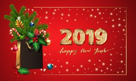 Gold Vector text Happy New Year and 3d golden digits 2019. 3d Shopping bag, spruce, fir branches, christmas toys, holly. Gold Vector text Happy New Year and 3d royalty free stock photo
