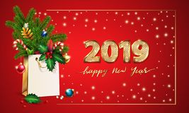 Gold Vector text Happy New Year and 3d golden digits 2019. 3d Shopping bag, spruce, fir branches, christmas toys, holly. Gold Vector text Happy New Year and 3d stock illustration
