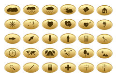 Gold vector web buttons - set Stock Photos