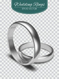 Gold vector wedding rings isolated on trasparent background. Vector illustration. Marriage invitation elements. Royalty Free Stock Photos