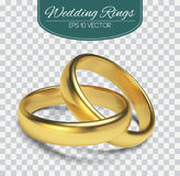 Gold vector wedding rings  on trasparent background. Vector illustration. Marriage invitation elements. Royalty Free Stock Image