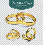 Gold vector wedding rings on trasparent background. Vector illustration. Marriage invitation elements. Gold vector wedding rings on trasparent background royalty free illustration
