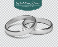 Gold vector wedding rings  on trasparent background. Vector illustration. Marriage invitation elements. Stock Images