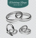 Gold vector wedding rings  on trasparent background. Vector illustration. Marriage invitation elements. Stock Image