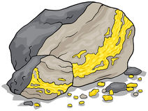 Gold vein in a rock Stock Photos