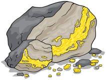 Gold vein in a rock Stock Photos