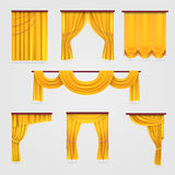 Gold velvet curtain drapery, wedding stage decoration vector stock. Curtain for theater, illustration of textile curtain isolated Royalty Free Stock Photography