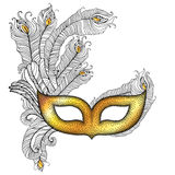 Gold Venetian carnival mask Colombina with outline peacock feathers in black on white background. Traditional attribute for masquerade. Decoration element in stock illustration
