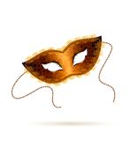 Gold Venetian carnival mask on  white background.  Royalty Free Stock Photography