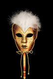 Gold Venetian Mask with feathers Stock Image