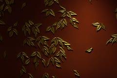 Gold verlässt auf einer roten Wand, einem Hintergrund und einer Beschaffenheit Lizenzfreie Stockbilder