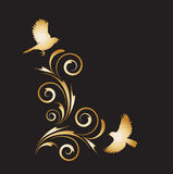 Gold vignette with abstract floral ornament and birds Royalty Free Stock Image